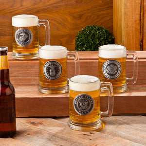 Personalized Glass Military Emblem Beer Mugs | Unique Military Gifts - Everything Man Shop