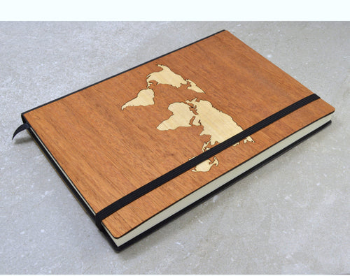 World Map Wood Lined Paper Wooden Journal Notebook | Unique Executive Gifts For Men - Everything Man Shop