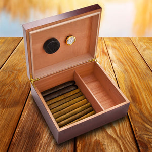 Personalized Cherry Wood Cigar Humidor Box | Unique Gifts For Men - Everything Man Shop