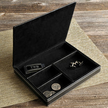 Load image into Gallery viewer, Men's Personalized Executive Black Deluxe Leather Valet - Everything Man Shop