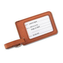Load image into Gallery viewer, Black Brown Personalized Monogram Leatherette Travel Luggage Tag - Everything Man Shop