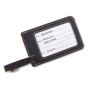 Black Brown Personalized Monogram Leatherette Travel Luggage Tag - Everything Man Shop