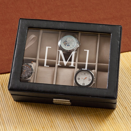Personalized Men's Black Leather Watch Case Holder - Everything Man Shop