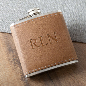 Laser Etched Personalized Tan Hide-Stitch Flask - Everything Man Shop