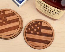 Load image into Gallery viewer, American Flag Cherry Wood Round Coasters | Unique Gifts For Men - Everything Man Shop