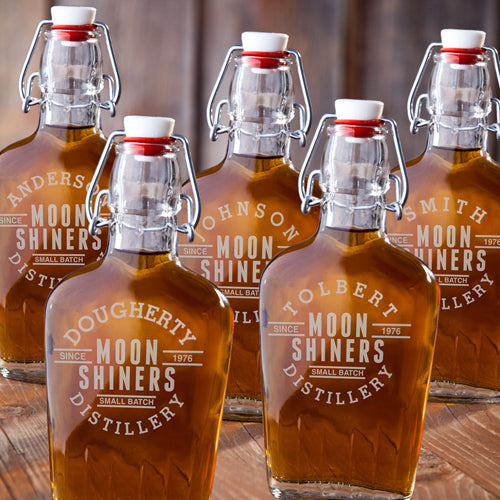 Personalized Set Of 5 Glass Whiskey Bourbon Flask | Top Gifts For Groomsman - Everything Man Shop