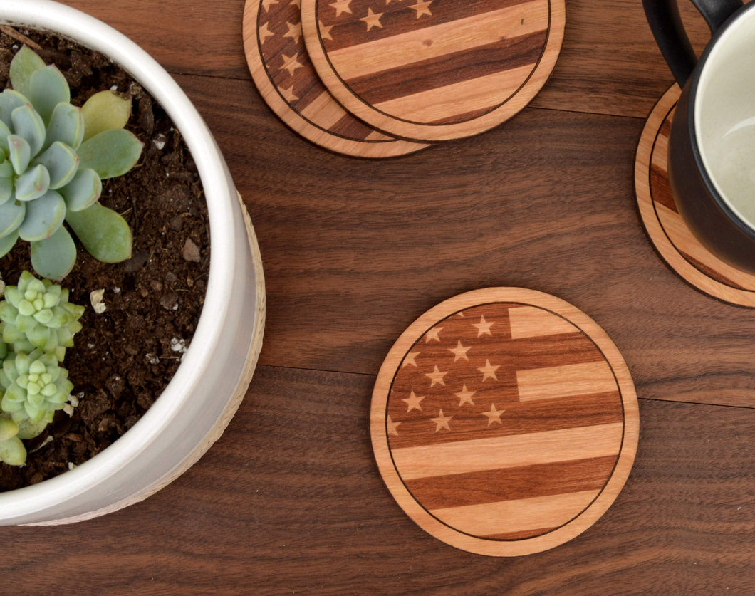 American Flag Cherry Wood Round Coasters | Unique Gifts For Men - Everything Man Shop