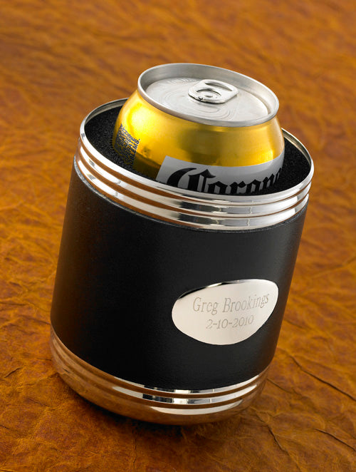 Personalized Black Leather Can Cooler Beer Koozie | Gifts For Him - Everything Man Shop
