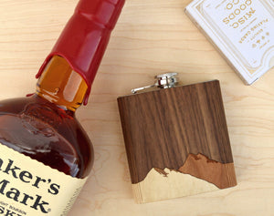 Wood Whiskey Mountain Bourbon Hip Flask | Unique Gifts For Men - Everything Man Shop