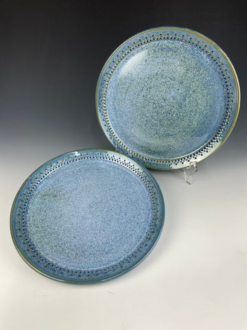 Dotted dinner plate set, dark blue Firefly