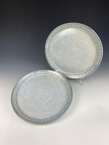 Dotted dinner plate set, light blue Firefly