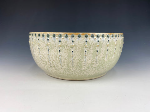 Small Dotted Serving Bowl, green Firefly (blue dots)