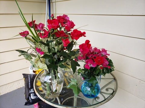 Rose arrangement from a residential trimming
