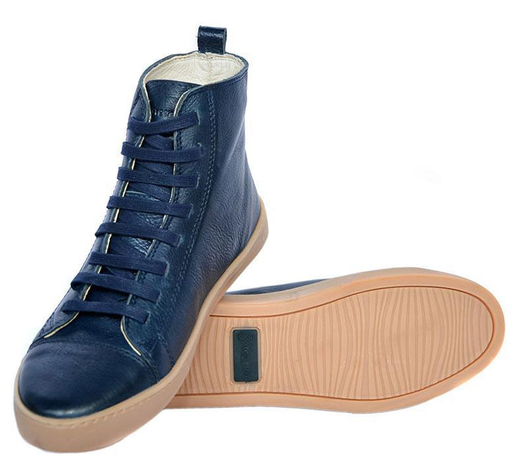 Coturno Boot Women Boot Use Leather Shoelaces Marine