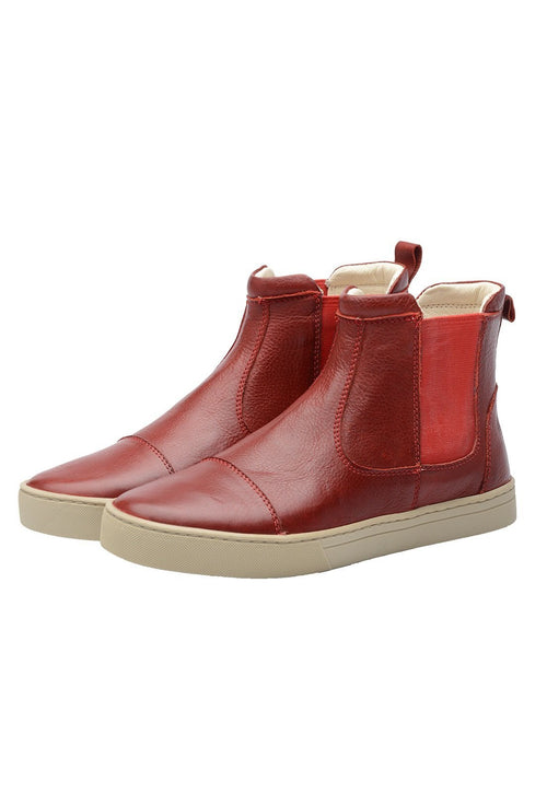 Boot Women Boot Leather Elastic Biodegradable Red