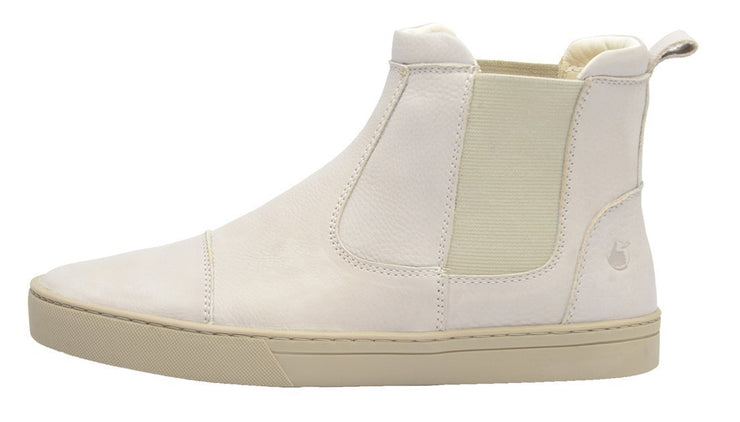 Boot Women Boot Leather Elastic Biodegradable white