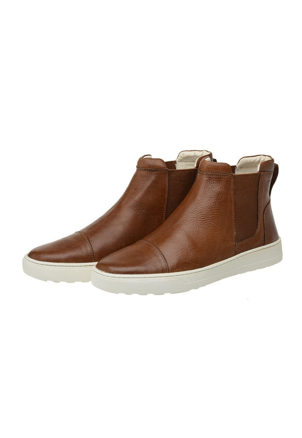 Male Leather Boot Lancelin Elastic Biodegradable Casual Caramel