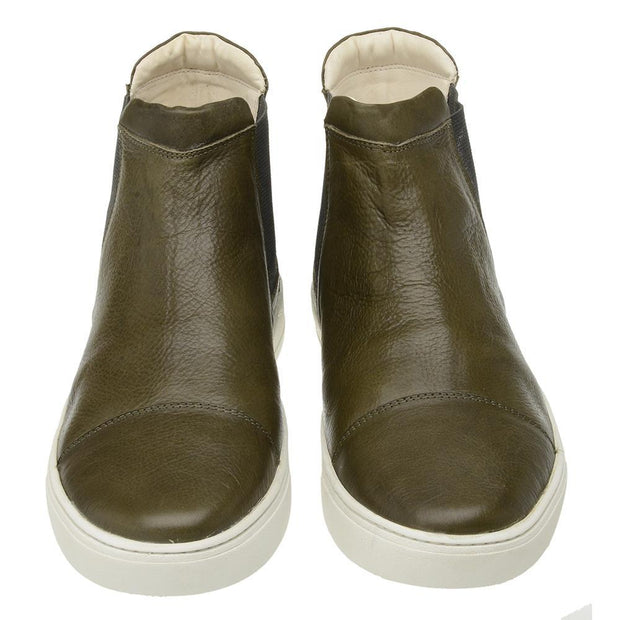 Male Leather Boot Lancelin Elastic Casual Green Biodegradable