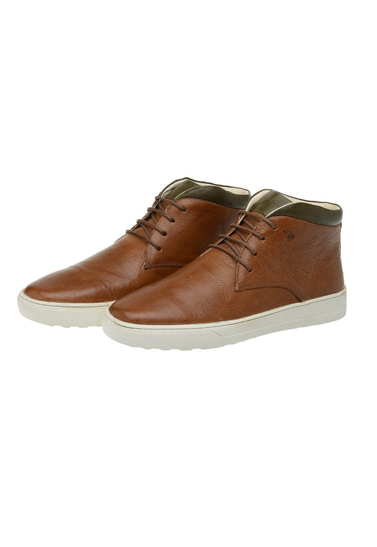 Male Leather Boot Mandalay Shoelaces Biodegradable Casual Caramel