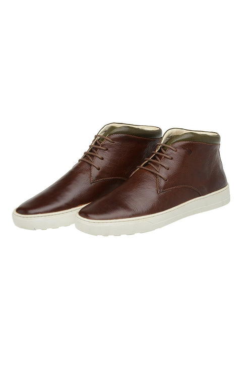 Male Leather Boot Mandalay Shoelaces Biodegradable Casual Brown