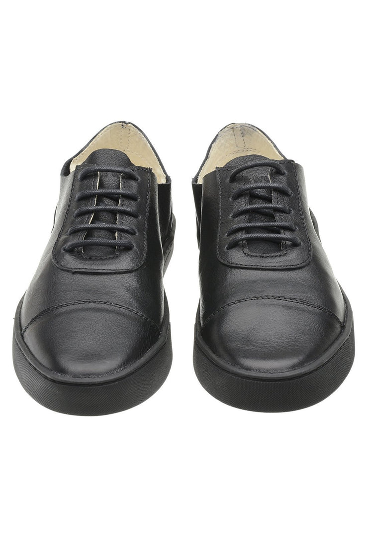 Sneaker Female Hyams Leather Shoelaces Biodegradable Black