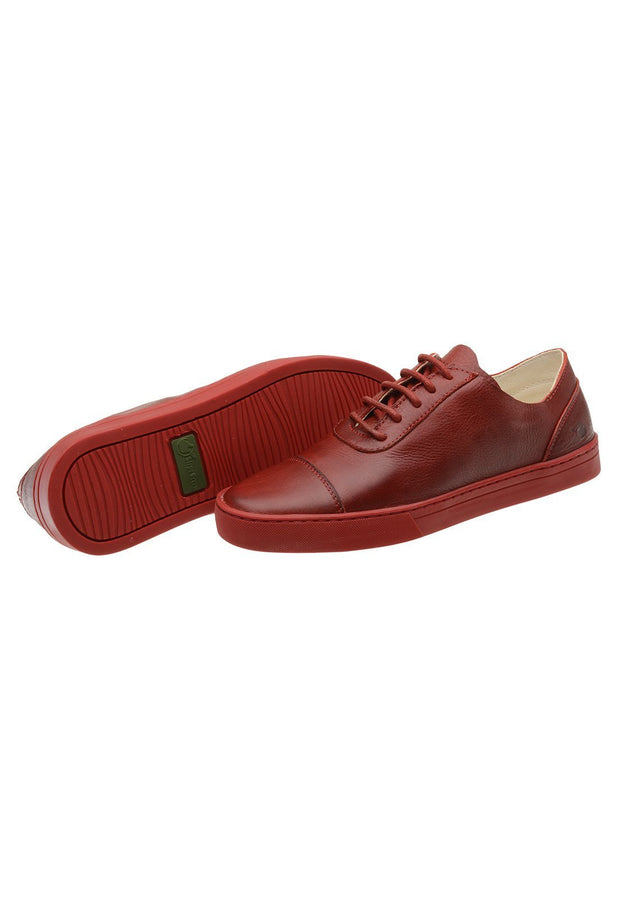 Sneaker Female Hyams Leather Shoelaces Biodegradable Red