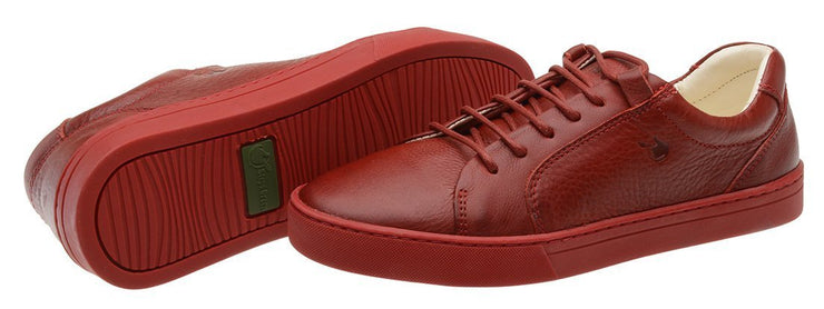 Sneaker Female Palm Leather Shoelaces Biodegradable Casual Red