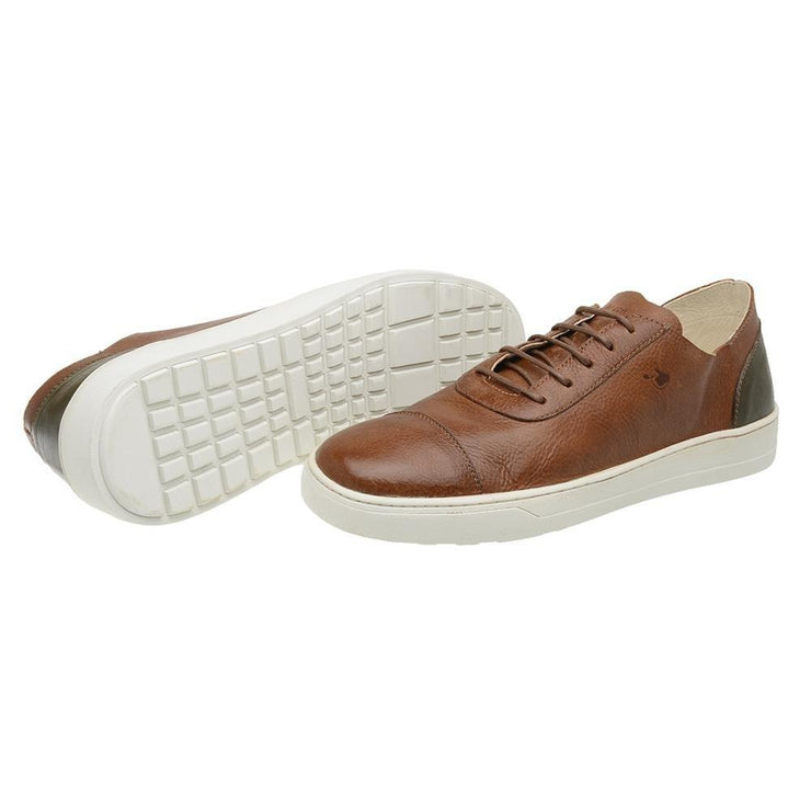 Sneaker Hyams Male Leather Shoelaces Biodegradable Casual Caramel