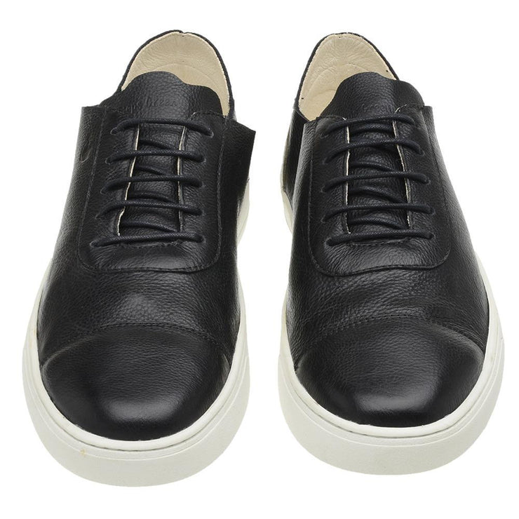 Sneaker Hyams Male Leather Shoelaces Biodegradable Casual Black