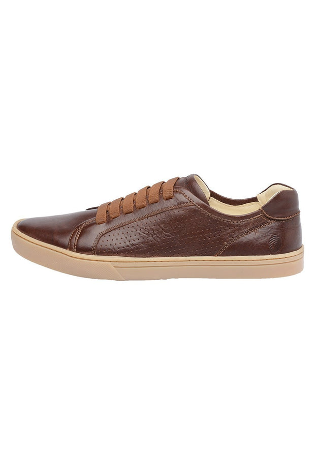 Sneaker Male Naturalsun Leather Shoelaces Brown