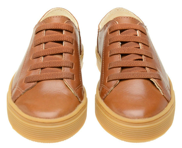 Shoe Leather Upper Low Leather Flat Children's Caramel