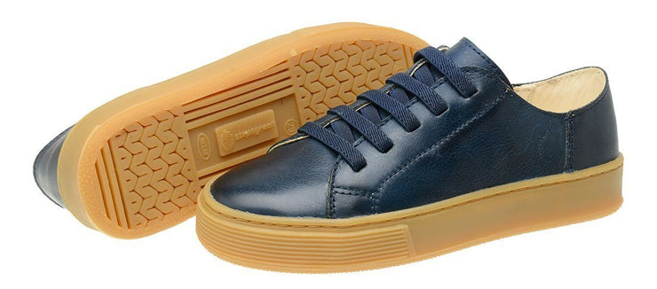 Shoe Leather Upper Low Leather Flat Child Marine