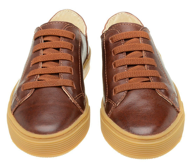 Shoe Leather Upper Low Leather Flat Children Mahogany