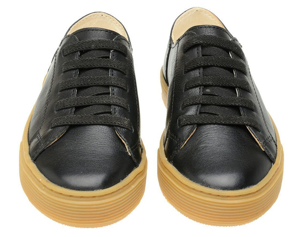 Shoe Leather Upper Low Leather Flat Black Children