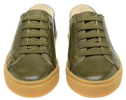 Shoe Leather Upper Low Leather Flat Child Green