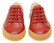 Shoe Leather Upper Low Leather Flat Child Red