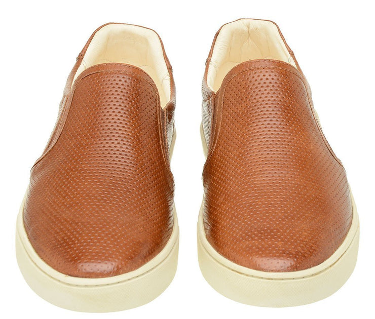 Male tennis Slip On Yacht Leather Elastic Caramel