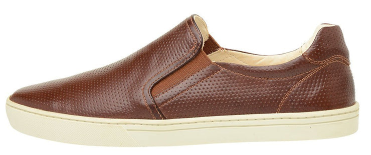 Male tennis Slip On Yacht Leather Elastic Brown