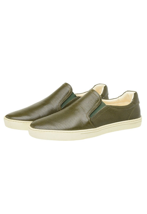 Male tennis Slip On Yacht Leather Elastic Green