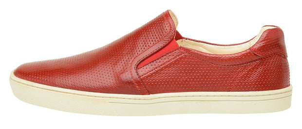 Male tennis Slip On Yacht Leather Elastic Red