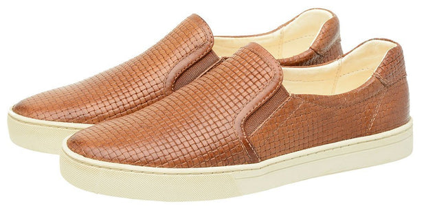 Shoe Slip On Female Yacht Leather Elastic Caramel