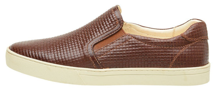Shoe Slip On Female Yacht Leather Elastic Brown
