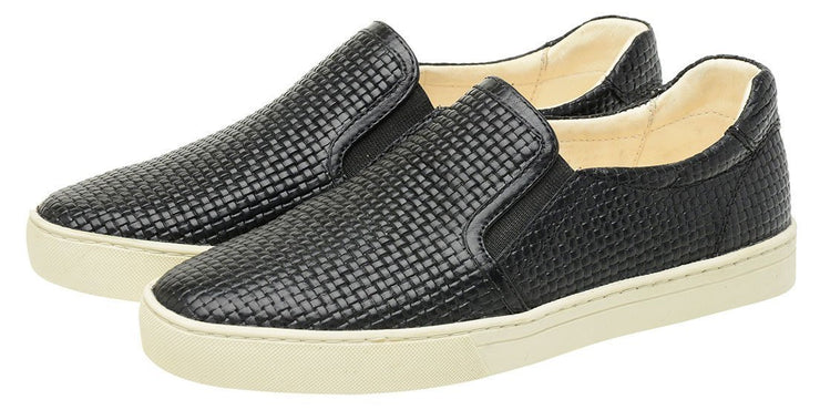 Shoe Slip On Leather Elastic Black Female Yatch
