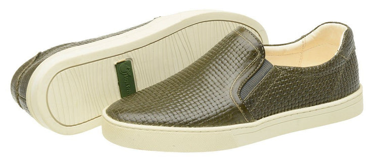 Shoe Slip On Female Yacht Leather Elastic Green