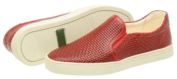 Shoe Slip On Female Yacht Leather Elastic Red