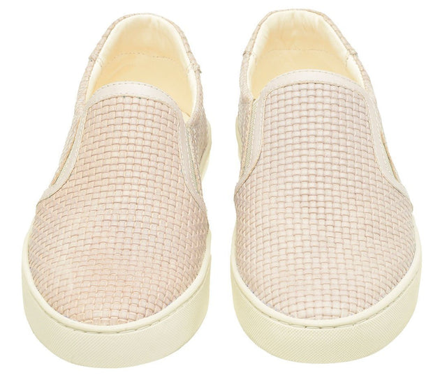 Shoe Slip On Female Yacht Leather Elastic white