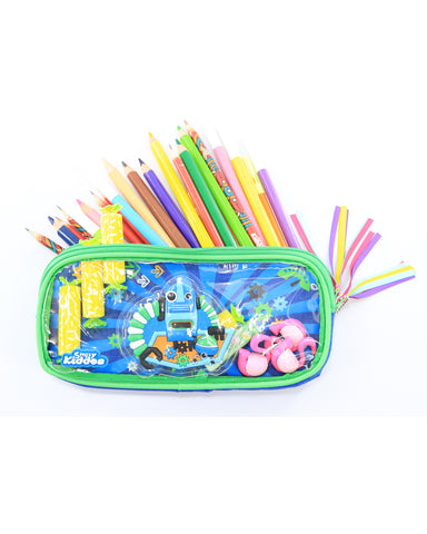 Fancy Transparent Pencil Case (Blue)