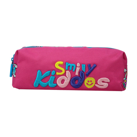 Image of Smily Twin Zipper Pencil Pouch (Pink)
