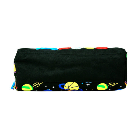 Smily Twin Zipper Pencil Pouch (Black)