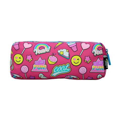 Smily Twin Zipper Pencil Pouch (Pink)